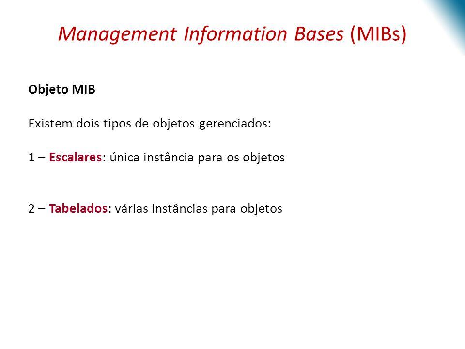 Management Information Bases (MIBs) Objeto MIB Existem dois tipos de objetos gerenciados: 1 – Escalares: única instância para os objetos 2 – Tabelados: várias instâncias para objetos