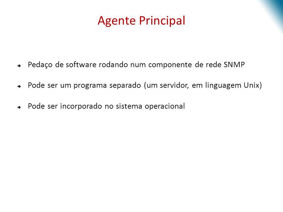 Agente Principal Pedaço de software rodando num componente de rede SNMP Pode ser um programa separado (um servidor, em linguagem Unix) Pode ser incorporado no sistema operacional