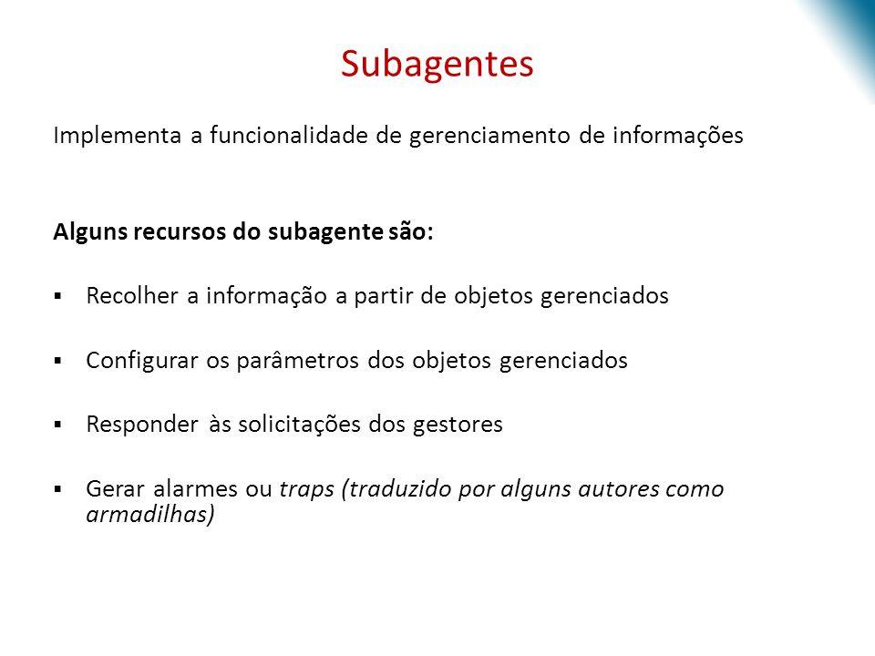 Subagentes Implementa a funcionalidade de gerenciamento de informações Alguns recursos do subagente são: Recolher a informação a partir de objetos ger