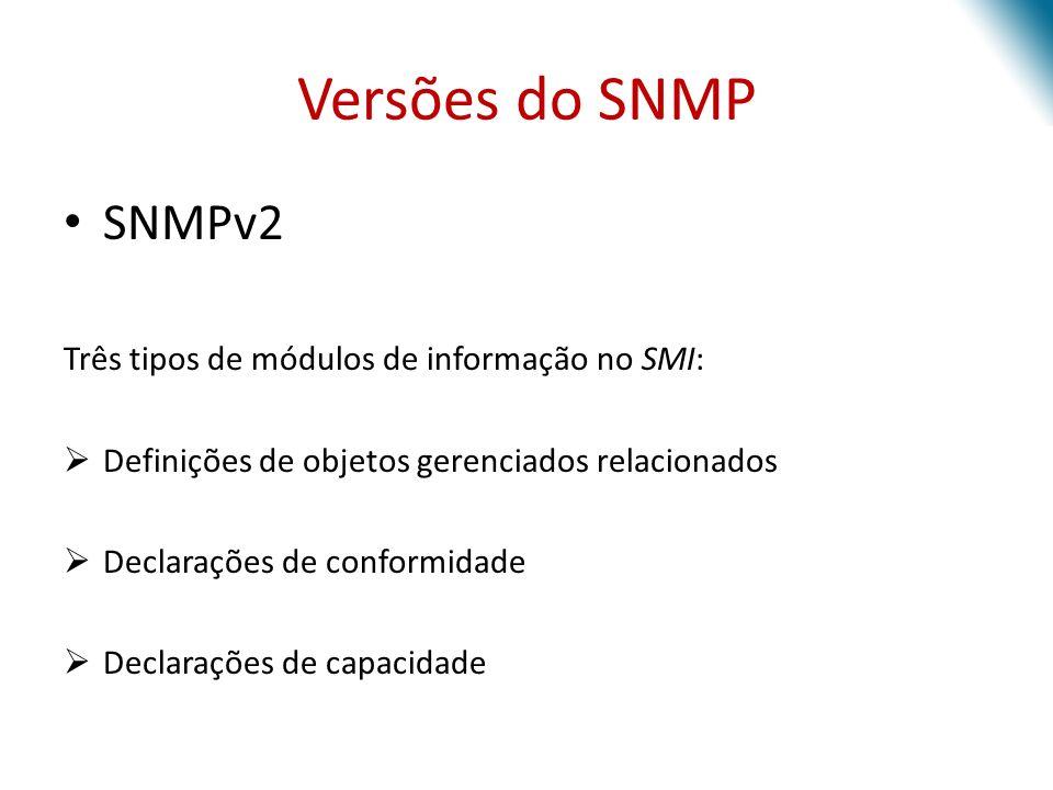 Versões do SNMP SNMPv2 Três tipos de módulos de informação no SMI: Definições de objetos gerenciados relacionados Declarações de conformidade Declaraç