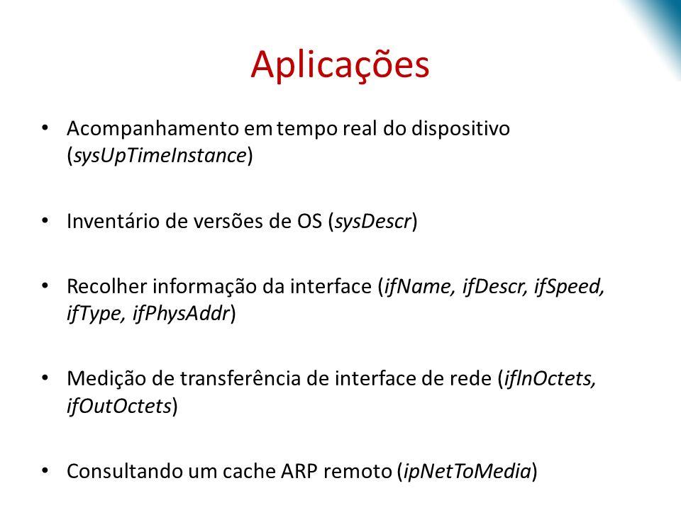 Aplicações Acompanhamento em tempo real do dispositivo (sysUpTimeInstance) Inventário de versões de OS (sysDescr) Recolher informação da interface (if