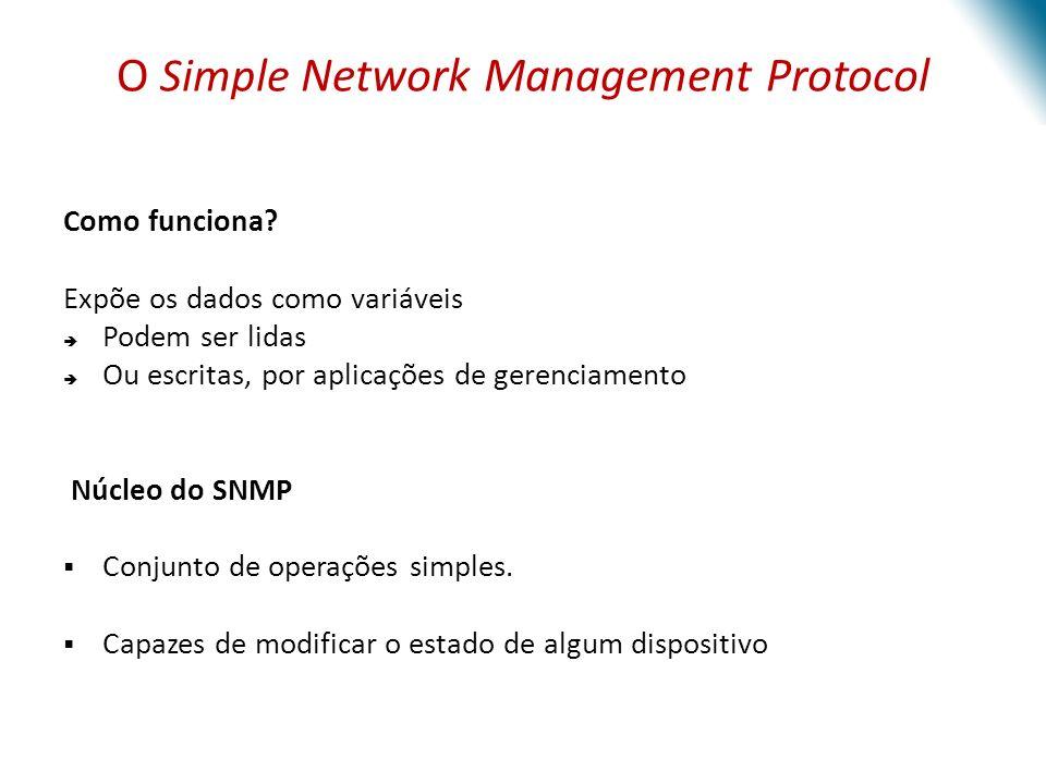 Componentes Básicos do SNMP 1 – Dispositivos Gerenciados o Nó da rede que contém um agente SNMP o Reside numa rede gerenciada 2 – Agentes o Módulo do software de gerenciamento de rede o Reside num dispositivo gerenciado 3 – Redes de gestão de sistemas(NMS, do inglês Network Management Systems) o Executa as aplicações que monitoram e controlam os dispositivos gerenciados