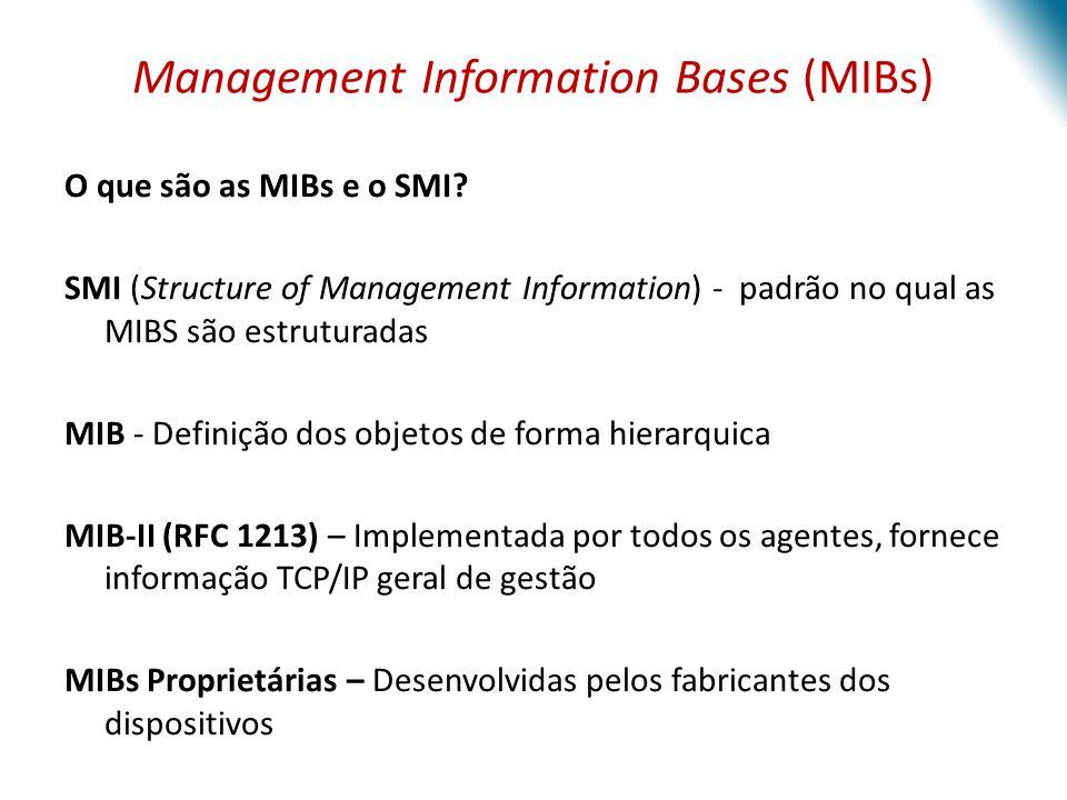 Management Information Bases (MIBs) O que são as MIBs e o SMI? SMI (Structure of Management Information) - padrão no qual as MIBS são estruturadas MIB