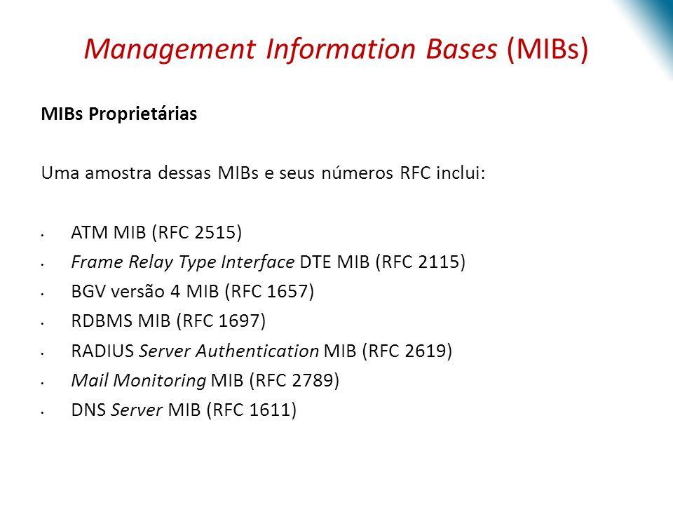 Management Information Bases (MIBs) Definição das informações oferecidas pelo sistema de gestão As informações disponíveis são definidas pelas MIBs, que por sua vez descrevem a estrutura de gestão dos dados de um subsistema de um dispositivo.