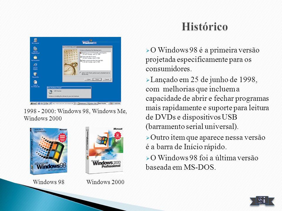 O Windows 98 é a primeira versão projetada especificamente para os consumidores. Lançado em 25 de junho de 1998, com melhorias que incluem a capacidad