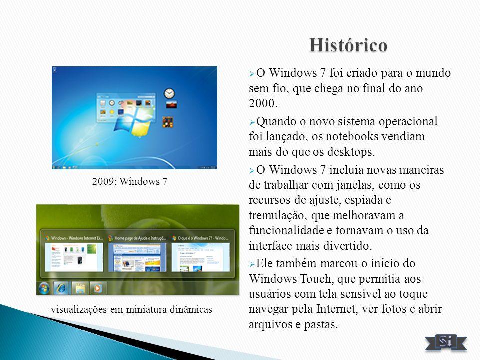 O Windows 7 foi criado para o mundo sem fio, que chega no final do ano 2000. Quando o novo sistema operacional foi lançado, os notebooks vendiam mais