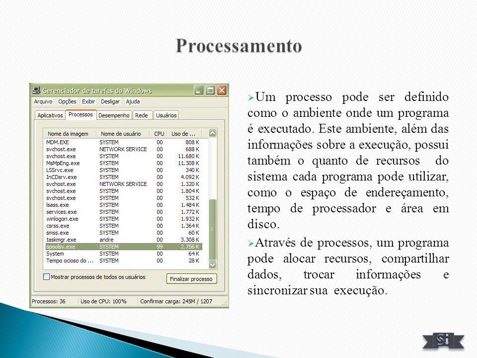 Um processo pode ser definido como o ambiente onde um programa é executado. Este ambiente, além das informações sobre a execução, possui também o quan