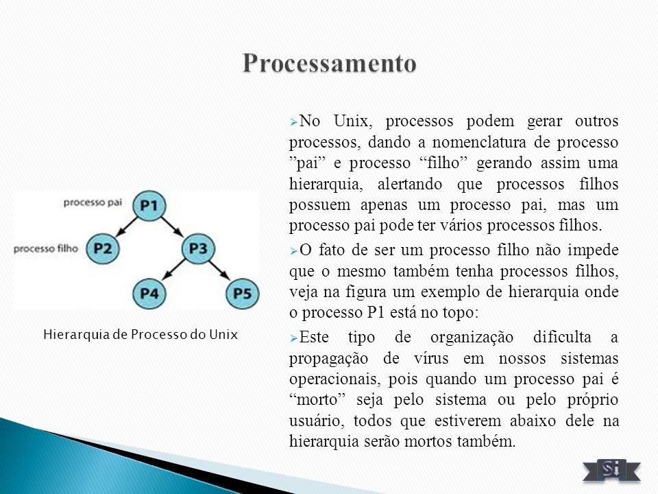 No Unix, processos podem gerar outros processos, dando a nomenclatura de processo pai e processo filho gerando assim uma hierarquia, alertando que pro