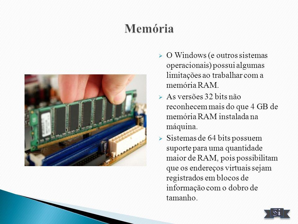 O Windows (e outros sistemas operacionais) possui algumas limitações ao trabalhar com a memória RAM. As versões 32 bits não reconhecem mais do que 4 G