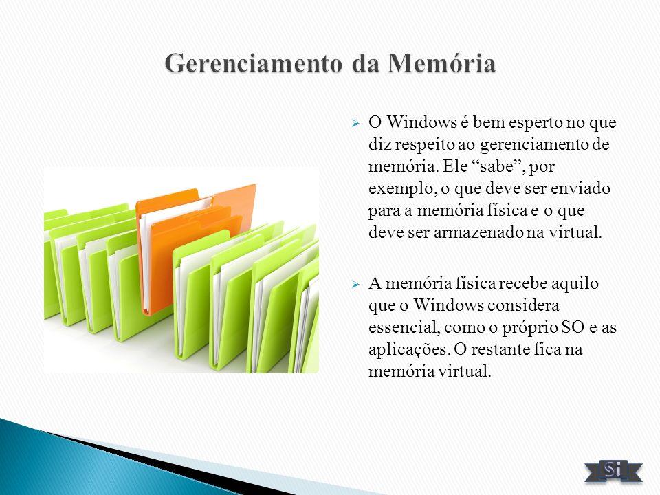 O Windows é bem esperto no que diz respeito ao gerenciamento de memória. Ele sabe, por exemplo, o que deve ser enviado para a memória física e o que d