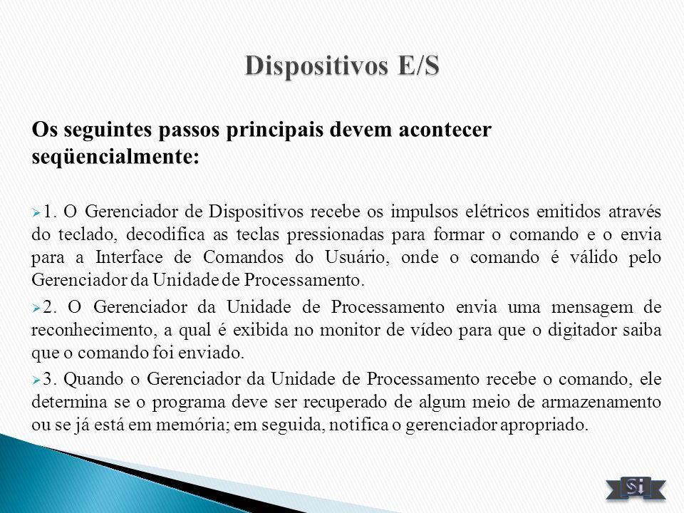 Os seguintes passos principais devem acontecer seqüencialmente: 1. O Gerenciador de Dispositivos recebe os impulsos elétricos emitidos através do tecl