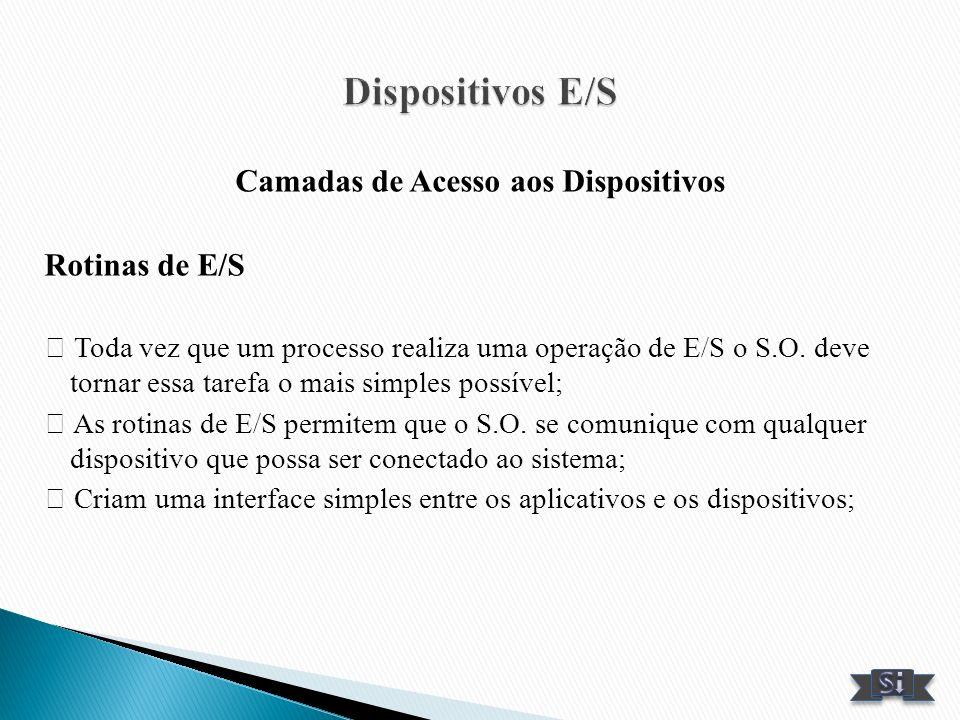 Camadas de Acesso aos Dispositivos Rotinas de E/S Toda vez que um processo realiza uma operação de E/S o S.O. deve tornar essa tarefa o mais simples p