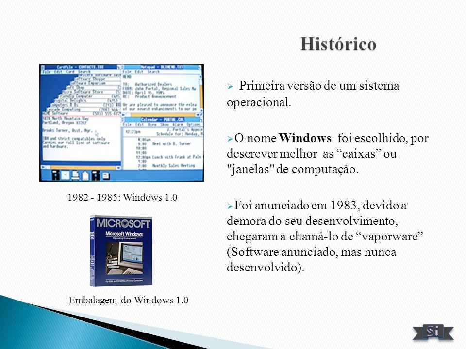 Primeira versão de um sistema operacional. O nome Windows foi escolhido, por descrever melhor as caixas ou