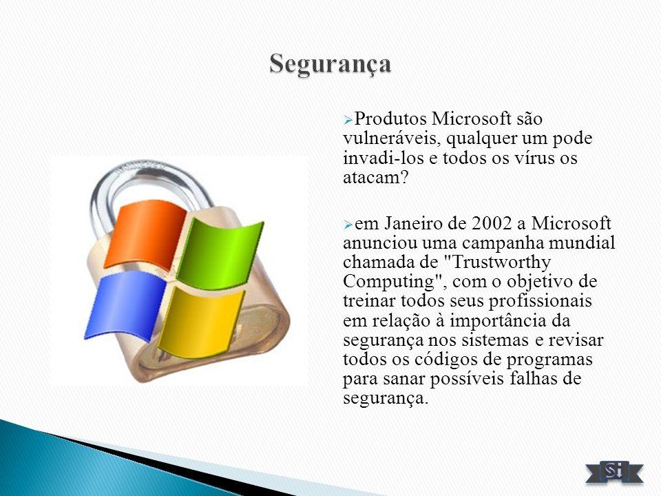 Produtos Microsoft são vulneráveis, qualquer um pode invadi-los e todos os vírus os atacam? em Janeiro de 2002 a Microsoft anunciou uma campanha mundi