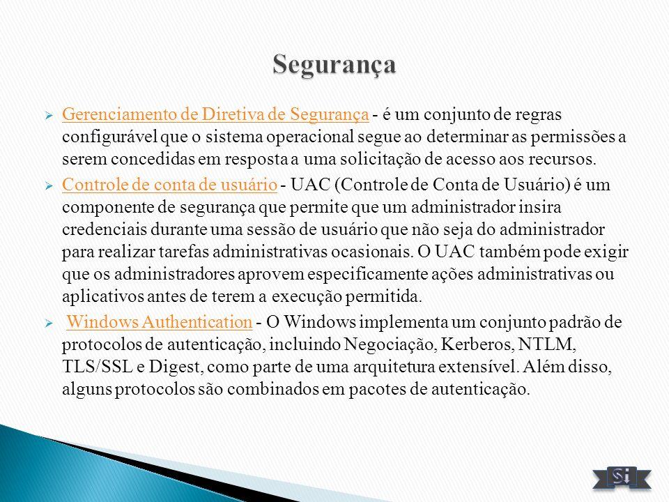 Gerenciamento de Diretiva de Segurança - é um conjunto de regras configurável que o sistema operacional segue ao determinar as permissões a serem conc