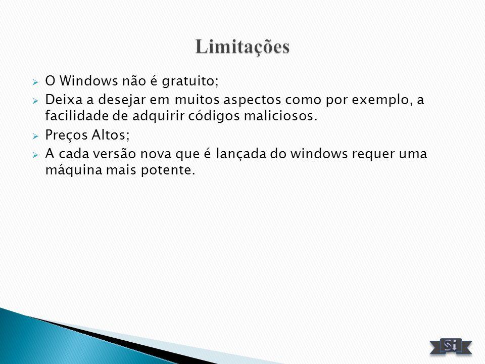 O Windows não é gratuito; Deixa a desejar em muitos aspectos como por exemplo, a facilidade de adquirir códigos maliciosos. Preços Altos; A cada versã