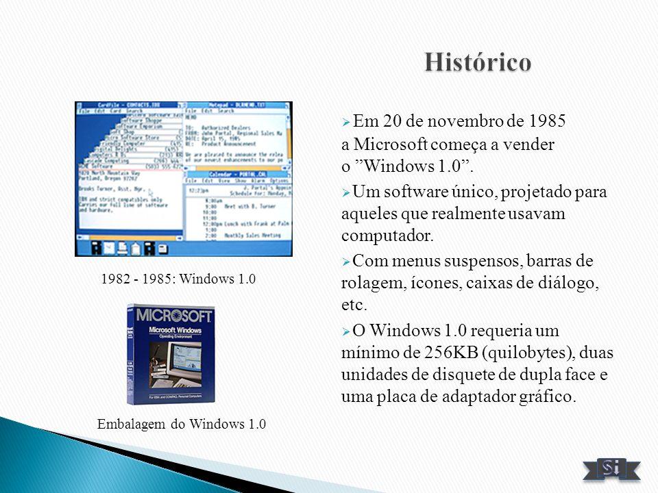 Em 20 de novembro de 1985 a Microsoft começa a vender o Windows 1.0. Um software único, projetado para aqueles que realmente usavam computador. Com me