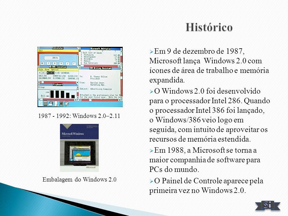 Em 9 de dezembro de 1987, Microsoft lança Windows 2.0 com ícones de área de trabalho e memória expandida. O Windows 2.0 foi desenvolvido para o proces