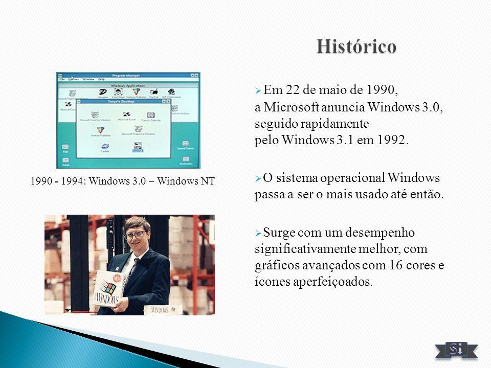 Em 22 de maio de 1990, a Microsoft anuncia Windows 3.0, seguido rapidamente pelo Windows 3.1 em 1992. O sistema operacional Windows passa a ser o mais