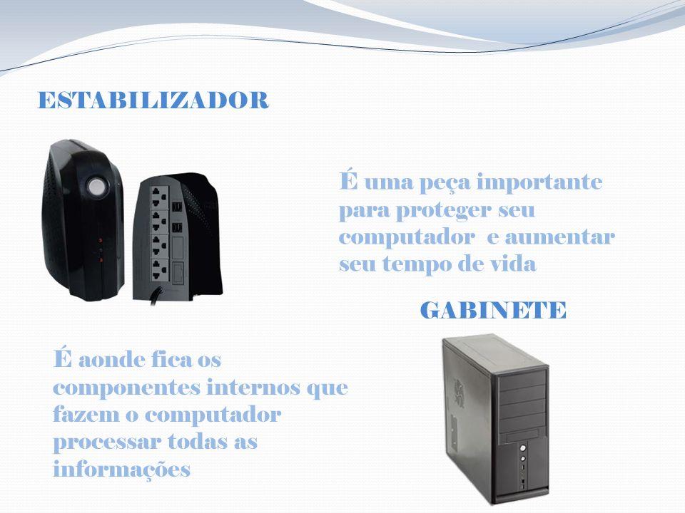 ESTABILIZADOR É uma peça importante para proteger seu computador e aumentar seu tempo de vida GABINETE É aonde fica os componentes internos que fazem