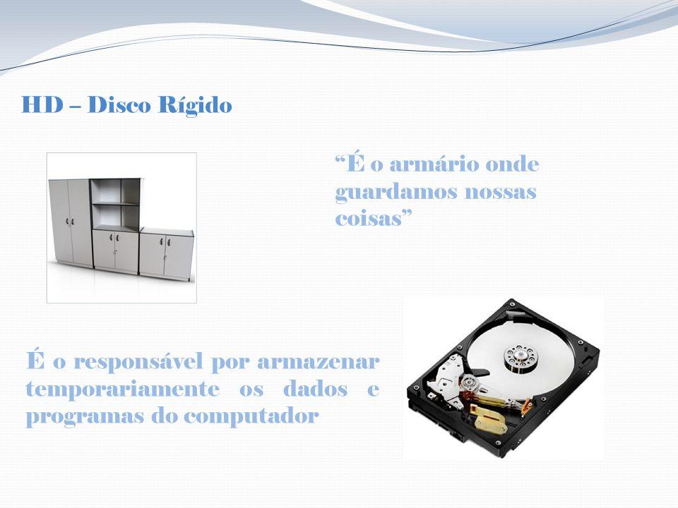 HD – Disco Rígido É o armário onde guardamos nossas coisas É o responsável por armazenar temporariamente os dados e programas do computador