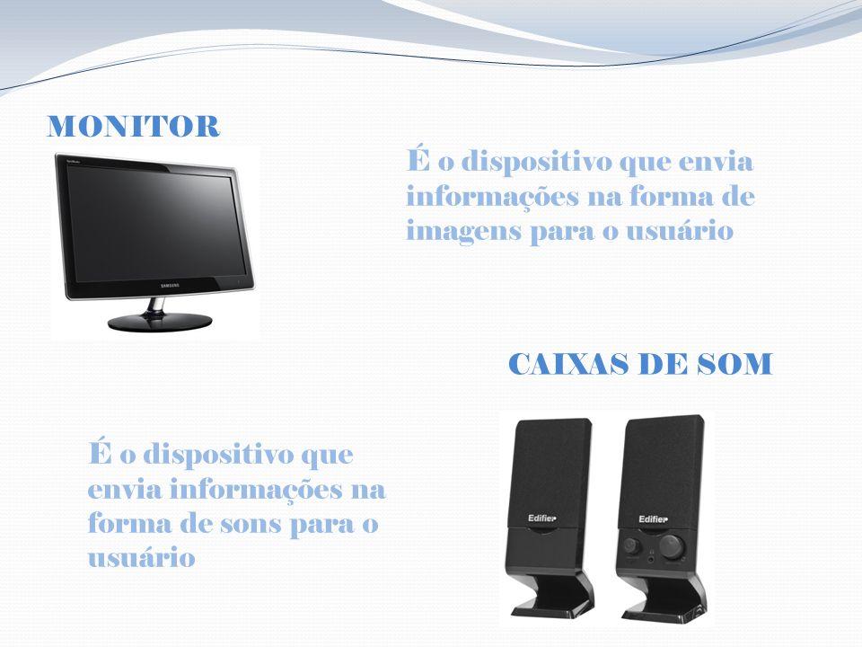 MONITOR É o dispositivo que envia informações na forma de imagens para o usuário É o dispositivo que envia informações na forma de sons para o usuário