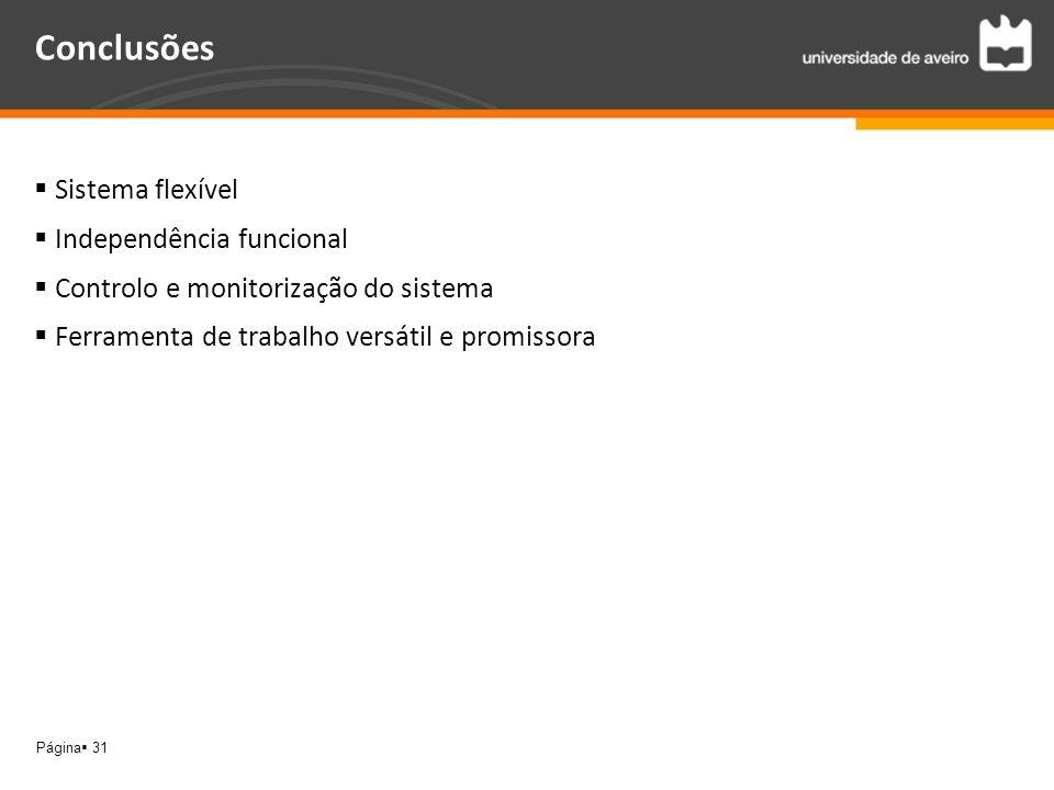 Página 31 Conclusões Sistema flexível Independência funcional Controlo e monitorização do sistema Ferramenta de trabalho versátil e promissora