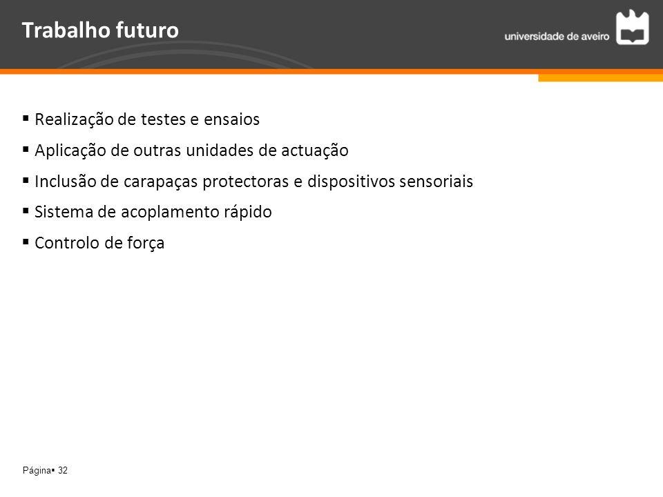 Página 32 Trabalho futuro Realização de testes e ensaios Aplicação de outras unidades de actuação Inclusão de carapaças protectoras e dispositivos sen