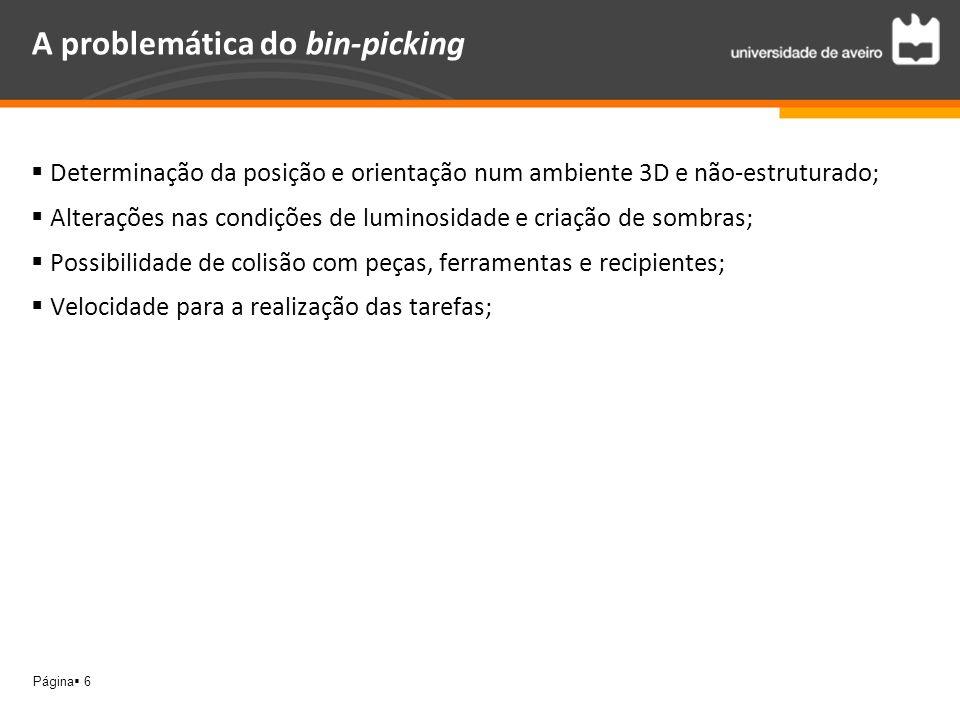 Página 6 A problemática do bin-picking Determinação da posição e orientação num ambiente 3D e não-estruturado; Alterações nas condições de luminosidad