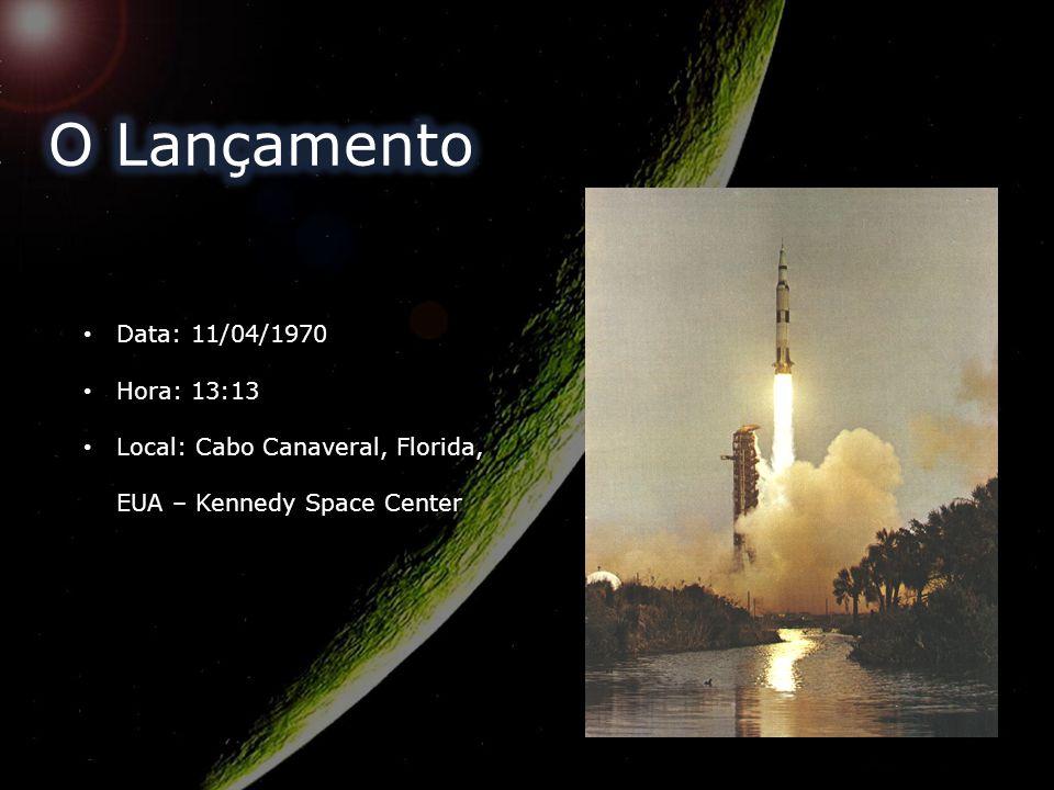 Data: 11/04/1970 Hora: 13:13 Local: Cabo Canaveral, Florida, EUA – Kennedy Space Center
