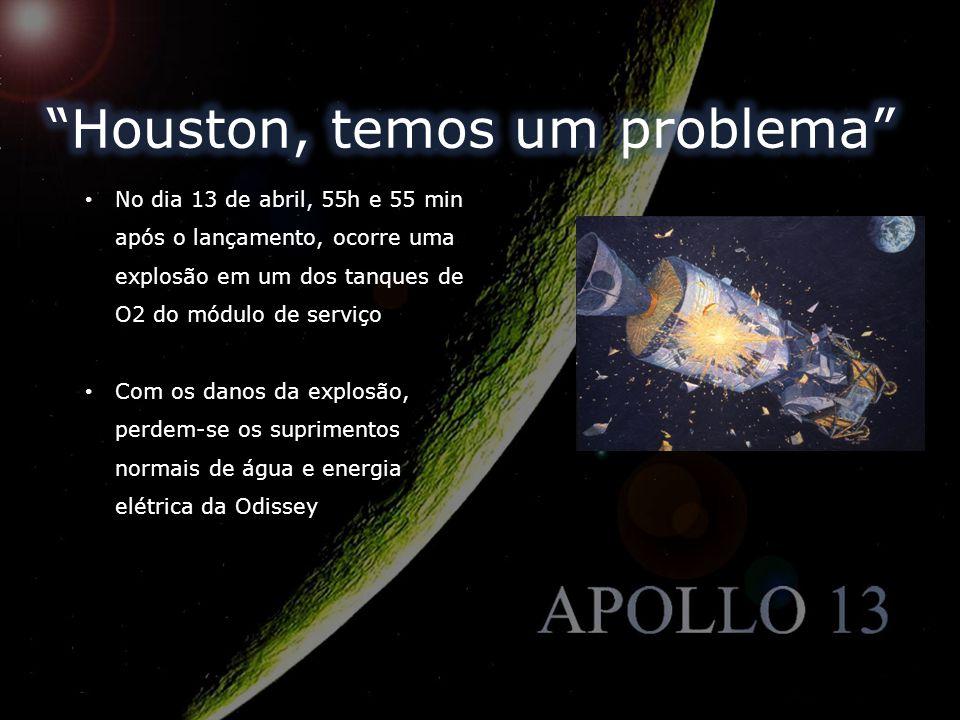 No dia 13 de abril, 55h e 55 min após o lançamento, ocorre uma explosão em um dos tanques de O2 do módulo de serviço Com os danos da explosão, perdem-