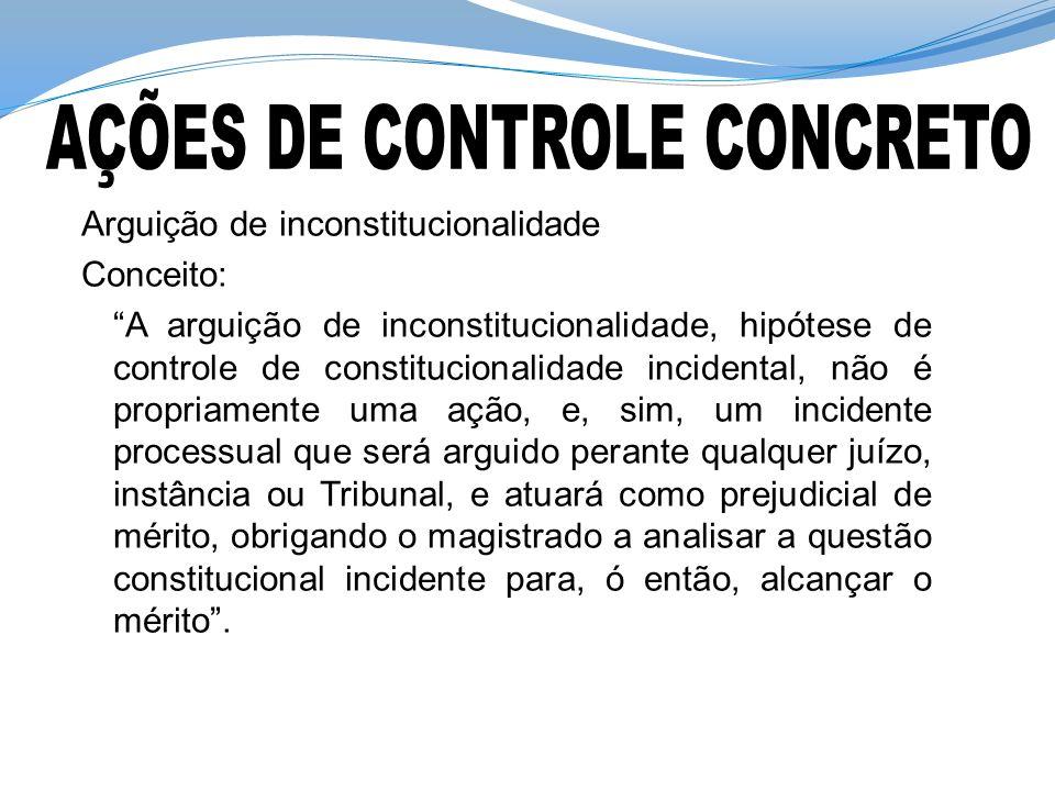 Arguição de inconstitucionalidade Conceito: A arguição de inconstitucionalidade, hipótese de controle de constitucionalidade incidental, não é propria