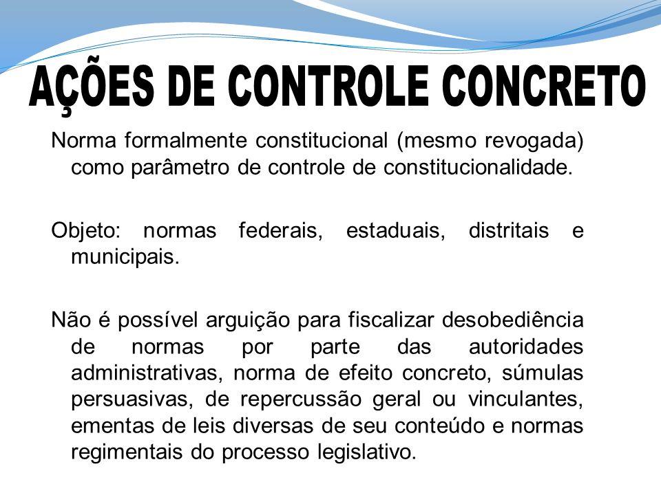 Norma formalmente constitucional (mesmo revogada) como parâmetro de controle de constitucionalidade. Objeto: normas federais, estaduais, distritais e