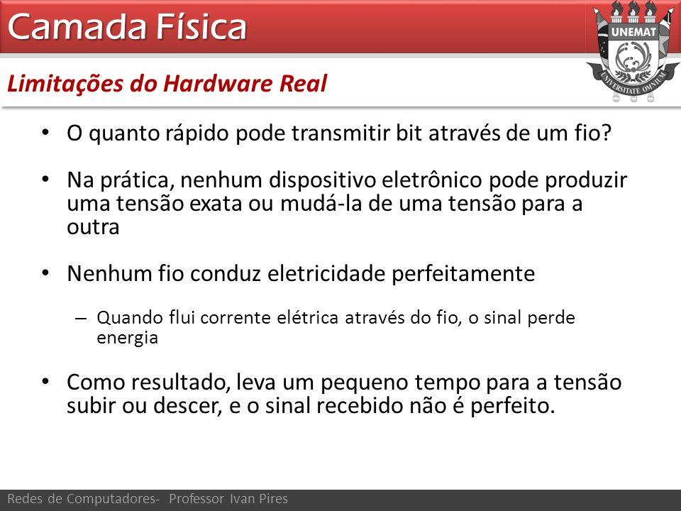 Limitações do Hardware Real Camada Física Redes de Computadores- Professor Ivan Pires O quanto rápido pode transmitir bit através de um fio? Na prátic
