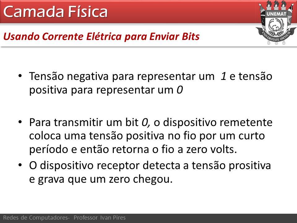 Usando Corrente Elétrica para Enviar Bits Camada Física Redes de Computadores- Professor Ivan Pires Tensão negativa para representar um 1 e tensão pos