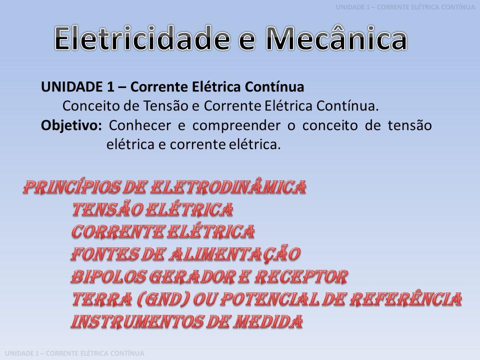 UNIDADE 1 – CORRENTE ELÉTRICA CONTÍNUA UNIDADE 1 – Corrente Elétrica Contínua Conceito de Tensão e Corrente Elétrica Contínua. Objetivo: Conhecer e co