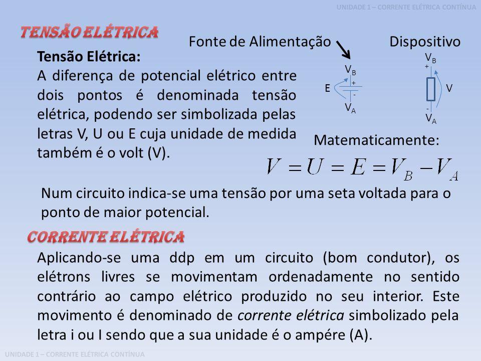 UNIDADE 1 – CORRENTE ELÉTRICA CONTÍNUA Tensão Elétrica: A diferença de potencial elétrico entre dois pontos é denominada tensão elétrica, podendo ser