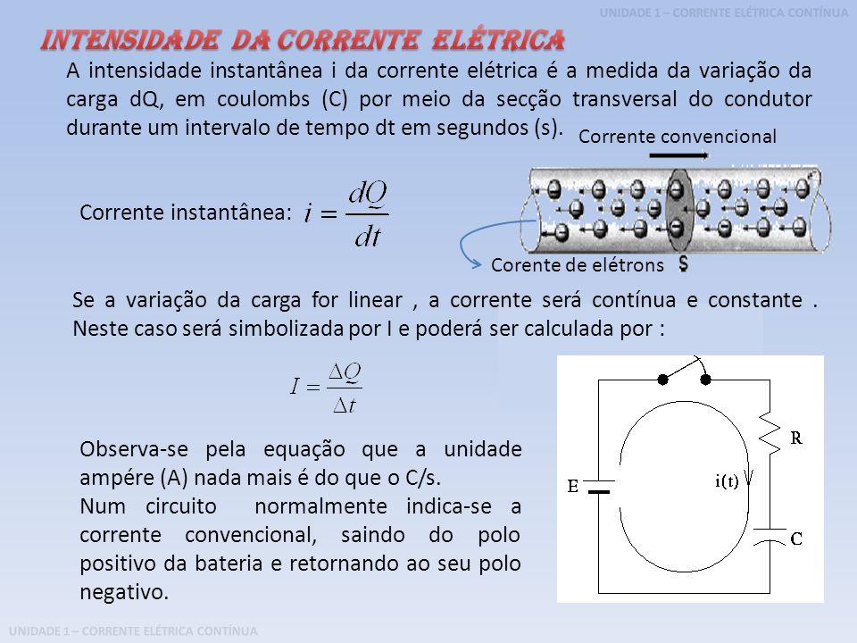 A intensidade instantânea i da corrente elétrica é a medida da variação da carga dQ, em coulombs (C) por meio da secção transversal do condutor durant