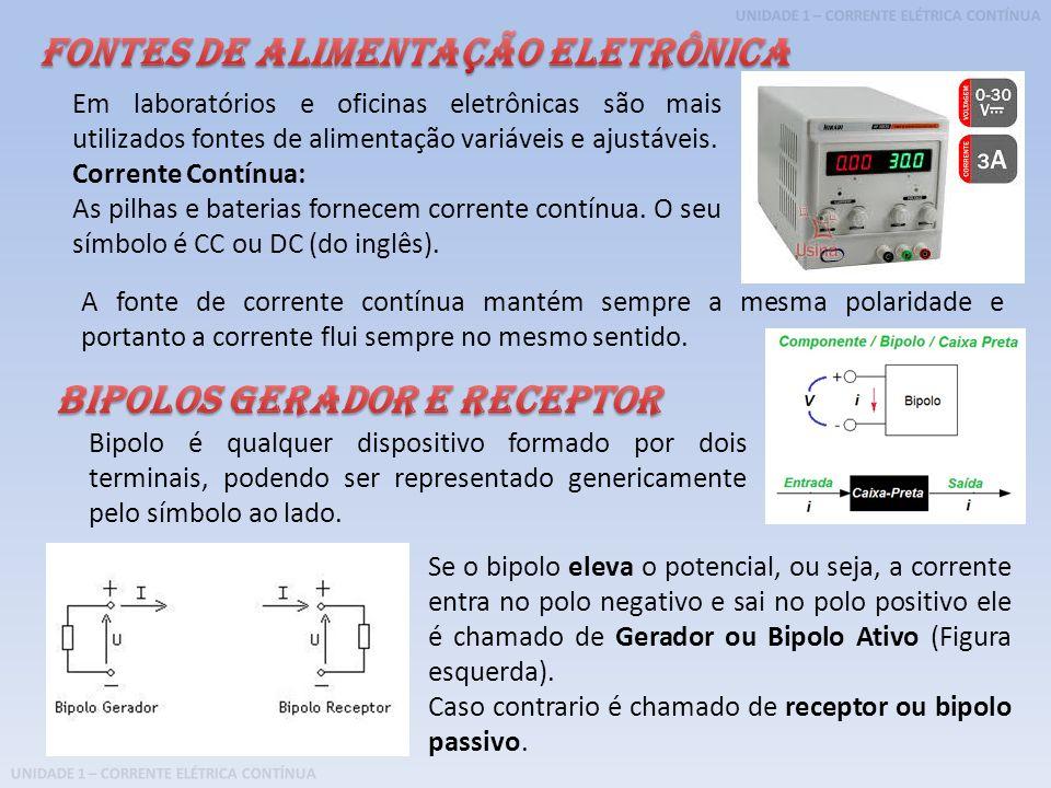 UNIDADE 1 – CORRENTE ELÉTRICA CONTÍNUA Em laboratórios e oficinas eletrônicas são mais utilizados fontes de alimentação variáveis e ajustáveis. Corren