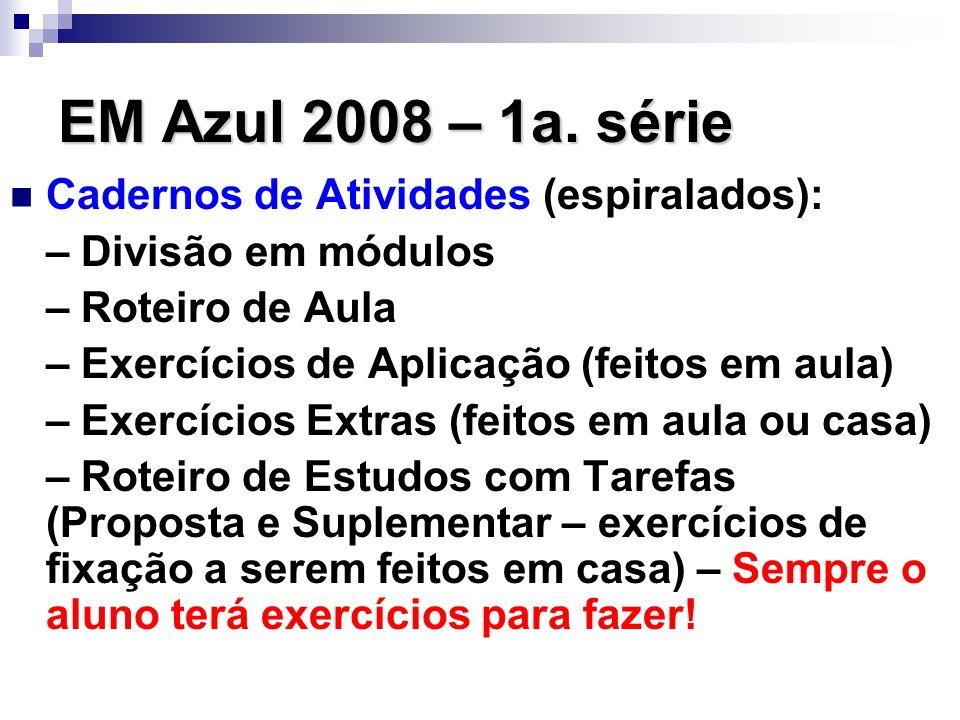 EM Azul 2008 – 1a. série Cadernos de Atividades (espiralados): – Divisão em módulos – Roteiro de Aula – Exercícios de Aplicação (feitos em aula) – Exe