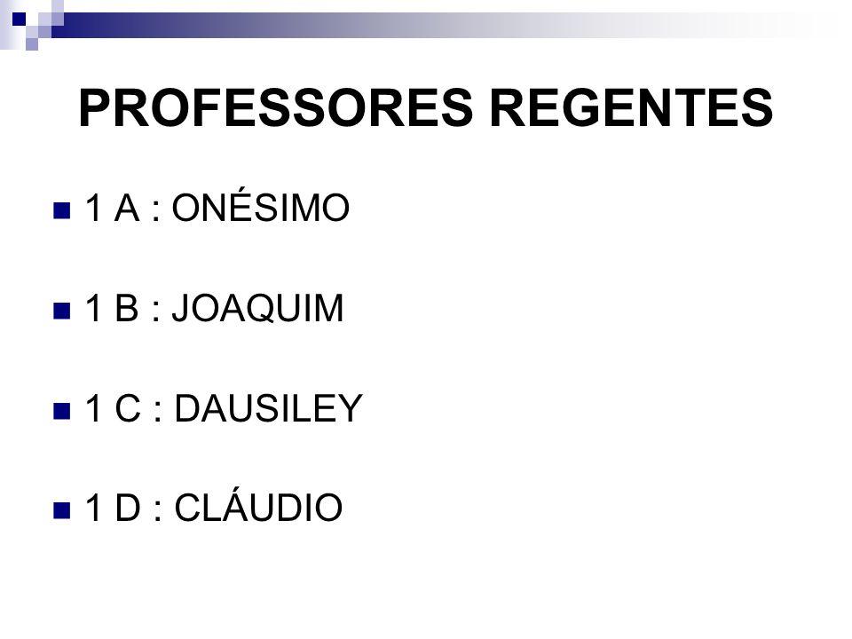 PROFESSORES REGENTES 1 A : ONÉSIMO 1 B : JOAQUIM 1 C : DAUSILEY 1 D : CLÁUDIO