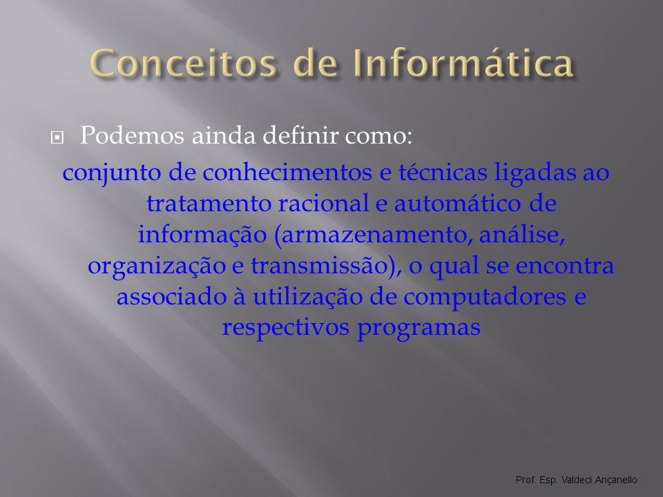 Prof.Esp. Valdeci Ançanello Informação X Dados O que é dados.