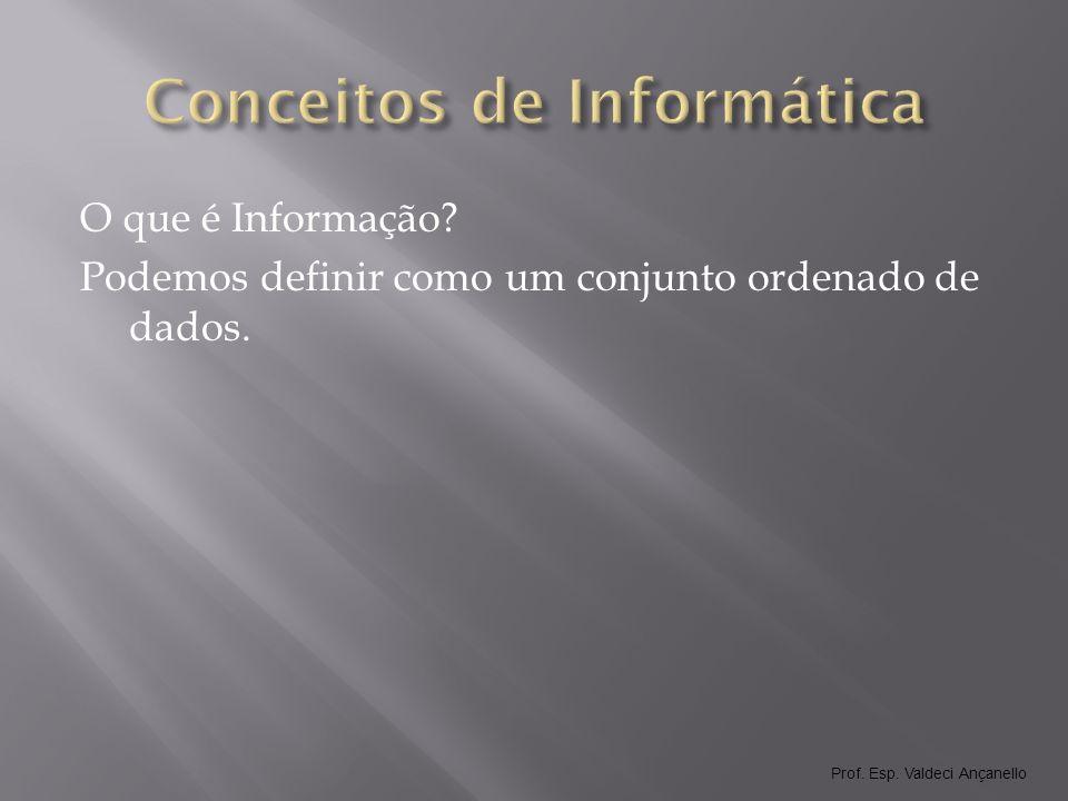 Prof. Esp. Valdeci Ançanello Componentes de um Sistema de Informação Hardware Software Usuário