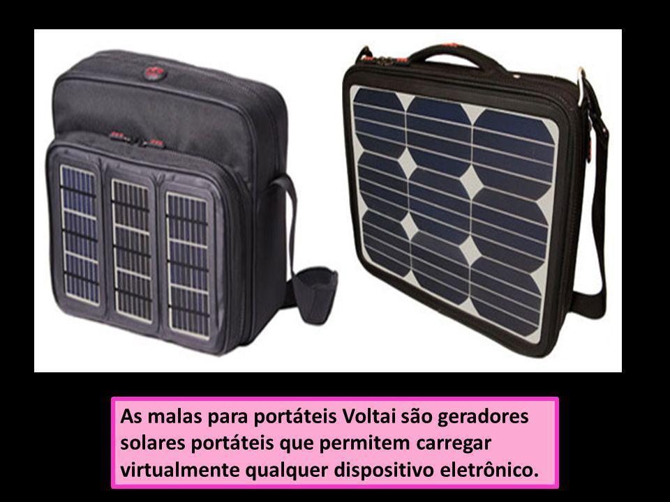 As malas para portáteis Voltai são geradores solares portáteis que permitem carregar virtualmente qualquer dispositivo eletrônico.