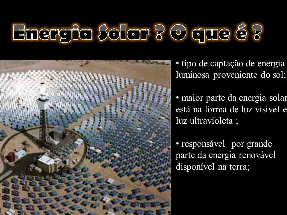 tipo de captação de energia luminosa proveniente do sol; maior parte da energia solar está na forma de luz visível e luz ultravioleta ; responsável po