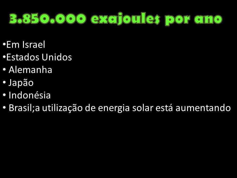Em Israel Estados Unidos Alemanha Japão Indonésia Brasil;a utilização de energia solar está aumentando