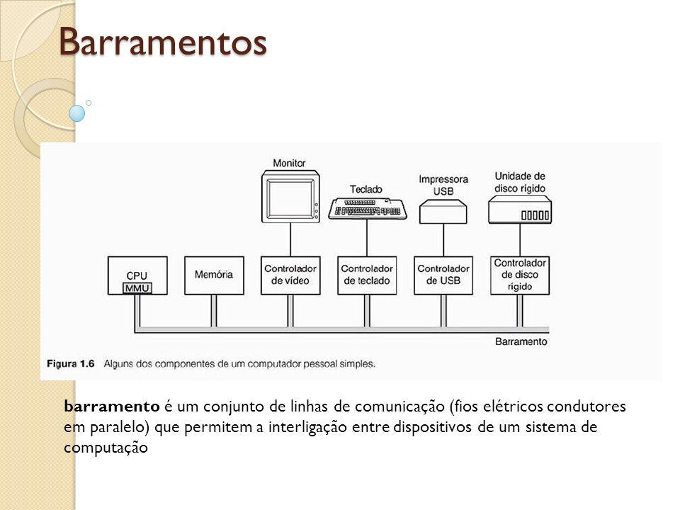Barramentos barramento é um conjunto de linhas de comunicação (fios elétricos condutores em paralelo) que permitem a interligação entre dispositivos d