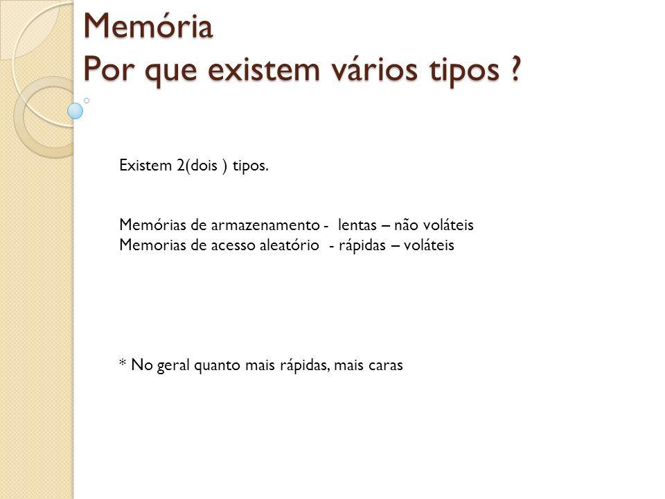 Memória Por que existem vários tipos ? Existem 2(dois ) tipos. Memórias de armazenamento - lentas – não voláteis Memorias de acesso aleatório - rápida