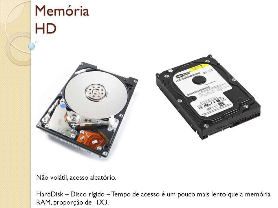 Memória HD Não volátil, acesso aleatório. HardDisk – Disco rígido – Tempo de acesso é um pouco mais lento que a memória RAM, proporção de 1X3.