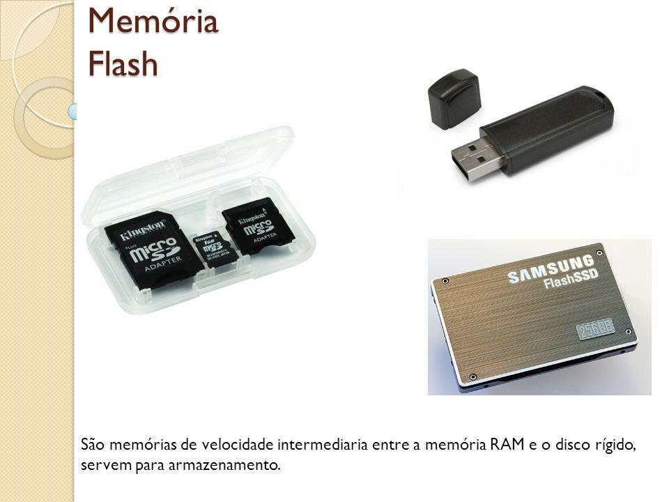 Memória Flash São memórias de velocidade intermediaria entre a memória RAM e o disco rígido, servem para armazenamento.
